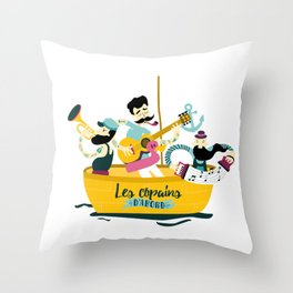 brassens musician music guitare boat sea friends trumpet accordion notes ocean french fun Throw Pillow