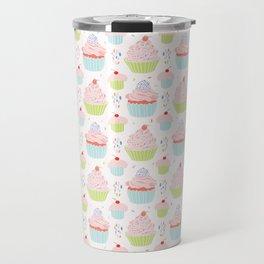Pastel Cupcakes Food Vector Pattern Travel Mug