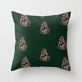 Forest Green Butterfly Print Throw Pillow