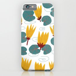 Yellow Waterlilies Lotus Pattern Illustration iPhone Case