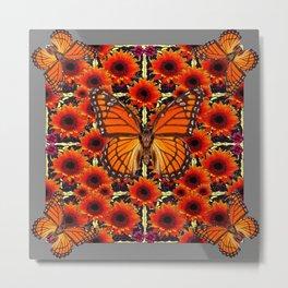 grey monarch butterflies sunflower patterns Metal Print