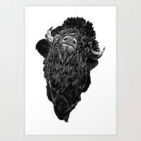 bison Art Prints featuring Bison by Chris Millette