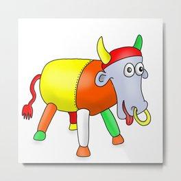 Steel Drum Colourful cow. Metal Print