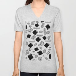 Black white geometrical 80s pattern paint brushstrokes Unisex V-Neck