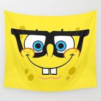 spongebob Wall Tapestries featuring Spongebob Nerd Face by Cute Cute Cute