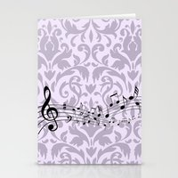 music notes Stationery Cards featuring Damask Music Notes by Jessica Wray