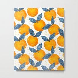 Cyprus Oranges - Blue and Orange Metal Print