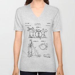 Drum Set Patent - Drummer Art - Black And White Unisex V-Neck