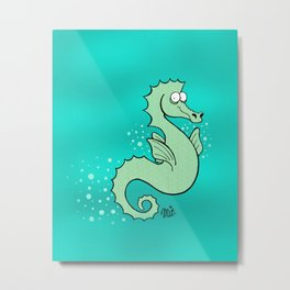 Sea Horse Swim Metal Print