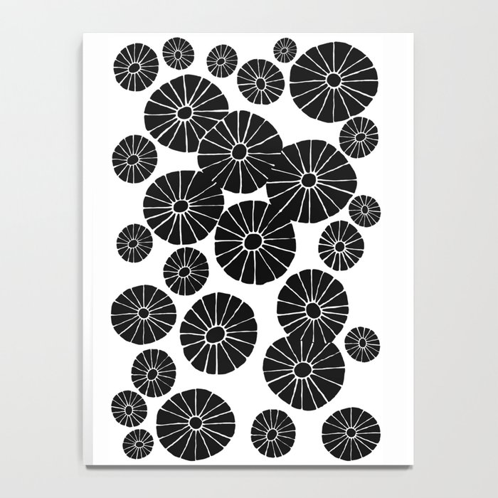 Abstract Hand Drawn Black and White Drawing by Emma Freeman Designs Notebook