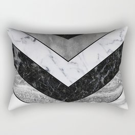 Shimmering mirage - grey marble chevron Rectangular Pillow