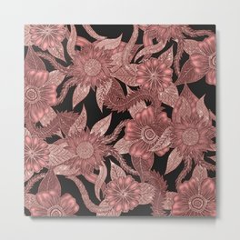 Glamorous Rose Gold Black Glitter Flowers Metal Print