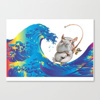 hokusai Canvas Prints featuring Hokusai Rainbow & Hippopotamus Fishing  by FACTORIE