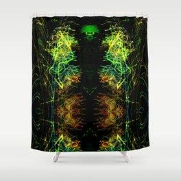 Dark Alien Light Storm Shower Curtain