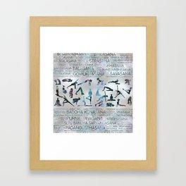 Yoga Asanas / Poses Sanskrit Word Art  Labradorite on pearl Framed Art Print