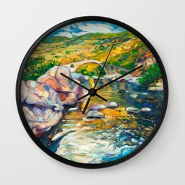 Bridge in the mountains Wall Clock
