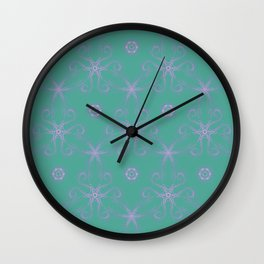 Green garden Swirl Repeating Pattern Wall Clock