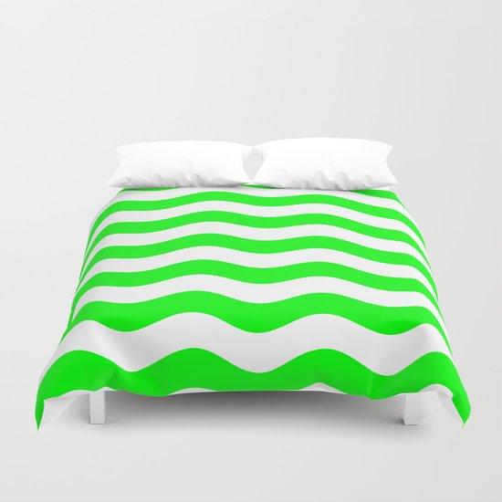Wavy Stripes (Green/White) Duvet Cover