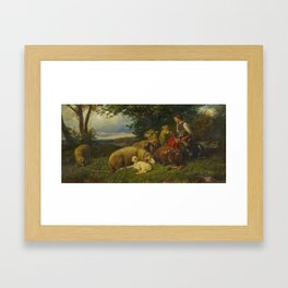 HOFNER, JOHANN BAPTIST 1832 Aresing - 1913   The Young Shepherdess. Framed Art Print