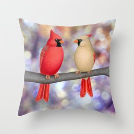 cardinals on a branch - bokeh Throw Pillow