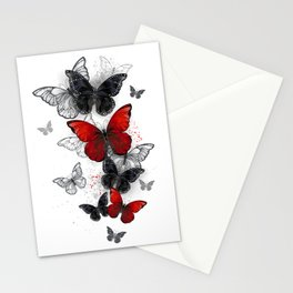 Flying Black and Red Morpho Butterflies Stationery Cards
