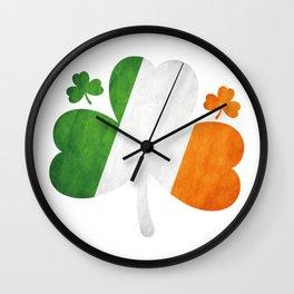 Shamrock Clover Irish Flag St. Patrick's Day Wall Clock
