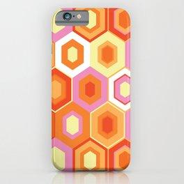 Pink, Orange, Yellow and White Hexagon Geometric Retro Pattern iPhone Case