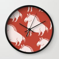 pony Wall Clocks featuring Pony  by Marc Mif