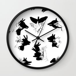 Black and White Shadow Puppet Chart Wall Clock