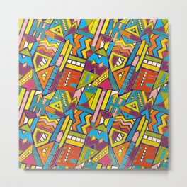 Colorful Geometric African Tribal Pattern Metal Print