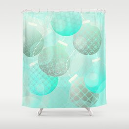 Silver and Mint Blue Christmas Ornaments Shower Curtain