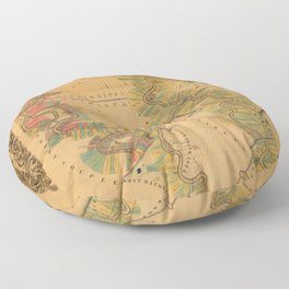 Map of Mississippi River 1858 Floor Pillow