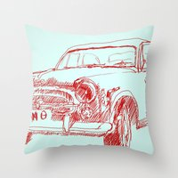 car Throw Pillows featuring Car  by Kristoffer West Johnson