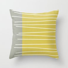 MId century modern textured stripes Throw Pillow