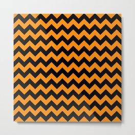 Large Black and Pumpkin Orange Halloween Chevron Stripes Metal Print