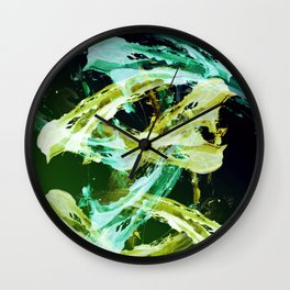 Green and Gold Expressionism Wall Clock