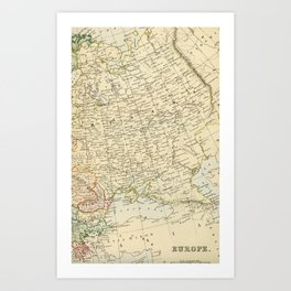 Old Map of the European Russia Art Print