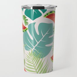 Tropical red green watermelon fruit floral Travel Mug