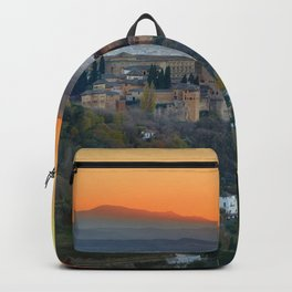 Red sunset at The Alhambra Palace Backpack