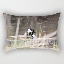 Hooded Merganser Swims Rectangular Pillow