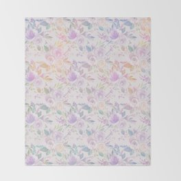 Modern lavender lilac pink watercolor floral Throw Blanket