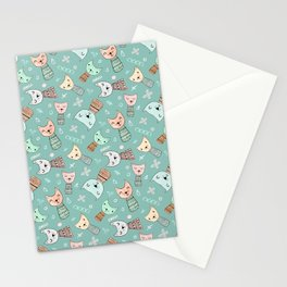 Kokeshi Kitties with Teal Background Stationery Cards