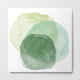 Abstract Organic Watercolor Shapes Painting in Green Metal Print
