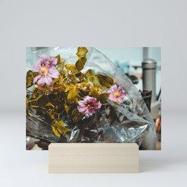 Sidewalk Nature. Bicycle Basket Flowers Photograph Mini Art Print