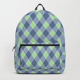 Blue-Green Argyle Pattern Backpack