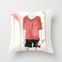 steve mcqueen Throw Pillows featuring Steve by Louis Franz