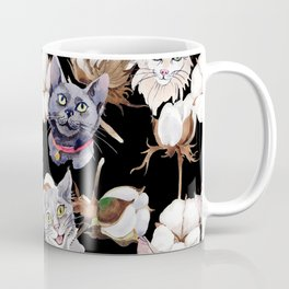 Cotton Flower & Cat Pattern on Black 02 Coffee Mug