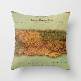 Map Of Puerto Rico 1886 Throw Pillow
