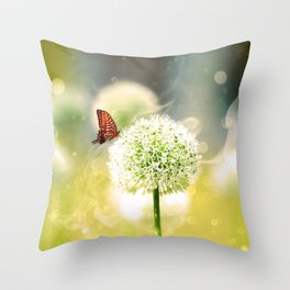 Allium fantasy flowers with butterfly Throw Pillow