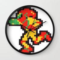 samus Wall Clocks featuring samus by Walter Melon